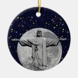 Cristo, luna y estrellas adorno redondo de cerámica
