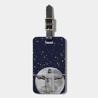 Cristo, luna y estrellas etiqueta para maleta