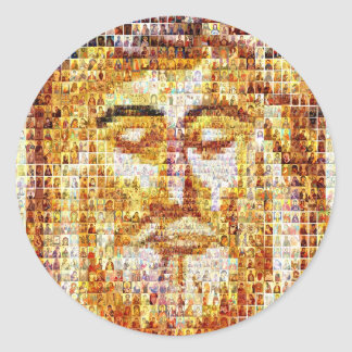 Cristo - moderno y antiguo pegatina redonda
