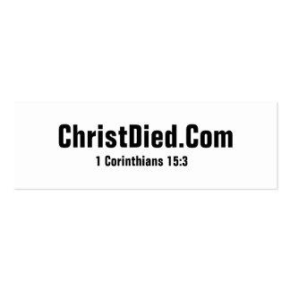 Cristo murió las tarjetas de visita flacas