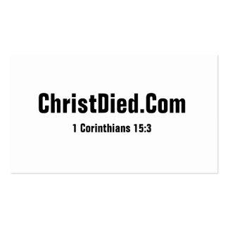 Cristo murió las tarjetas de visita