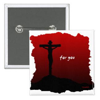 Cristo murió por usted regalo cristiano pin cuadrada 5 cm