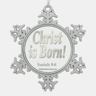 Cristo nace adorno de peltre en forma de copo de nieve