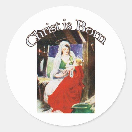 Cristo nace pegatina redonda