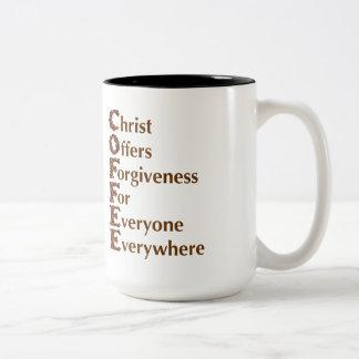"""""""Cristo ofrece a perdón para cada uno"""" la taza"""