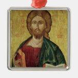 Cristo Pantocrator, 1607 Adorno Cuadrado Plateado