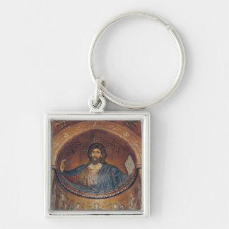 Cristo Pantocrator y Madonna Llavero Cuadrado Plateado