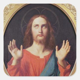 Cristo Pegatina Cuadrada