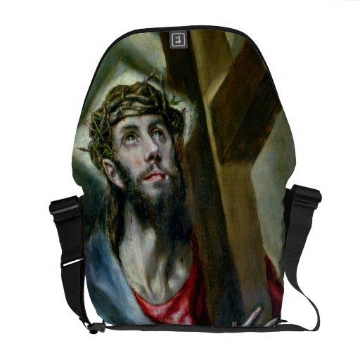 Cristo que abrocha la cruz, 1600-10 (aceite en lon bolsa de mensajeria