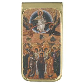 Cristo que asciende en cielo clip para billetes dorado