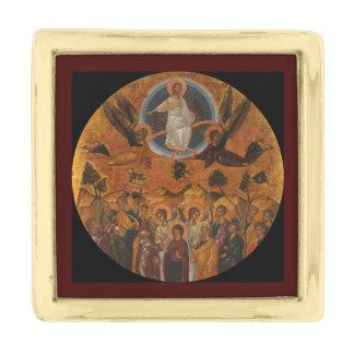 Cristo que asciende en cielo insignia dorada
