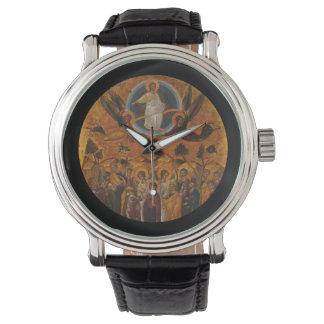 Cristo que asciende en cielo reloj de mano