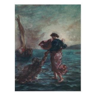 Cristo que camina en el agua tarjetas postales