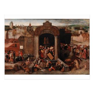 Cristo que conduce a comerciantes del templo por B Tarjeta Postal