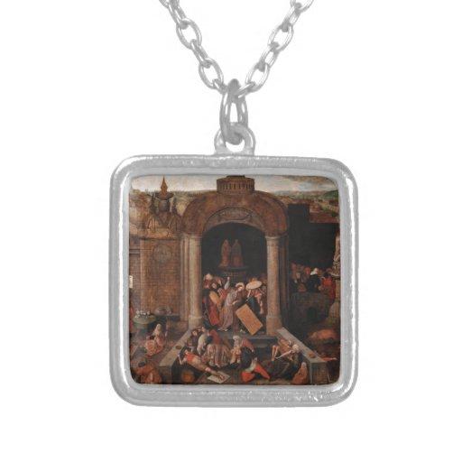 Cristo que conduce a comerciantes del templo por colgante cuadrado