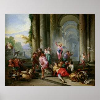 Cristo que conduce a los comerciantes del templo póster