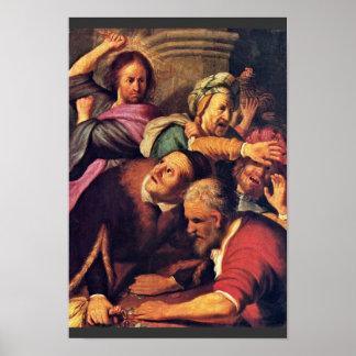 Cristo que conduce los Dinero-Cambiadores del Póster