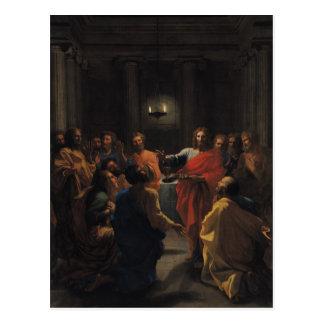 Cristo que instituye la eucaristía tarjeta postal