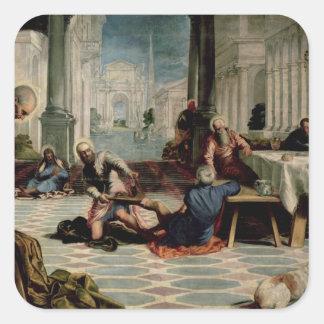 Cristo que lava a los pies de los discípulos pegatina cuadrada