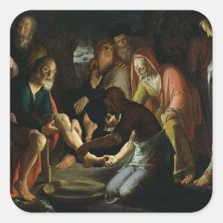 Cristo que lava los pies de los discípulos, 1623 pegatina cuadrada