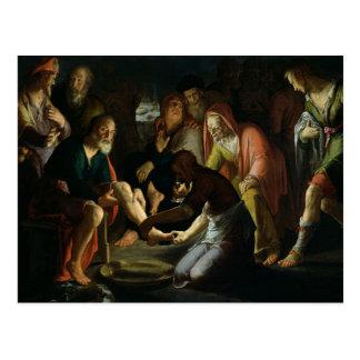 Cristo que lava los pies de los discípulos, 1623 postal