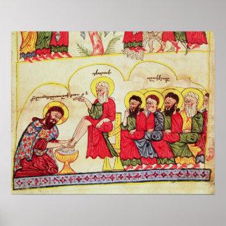 Cristo que lava los pies de los discípulos impresiones