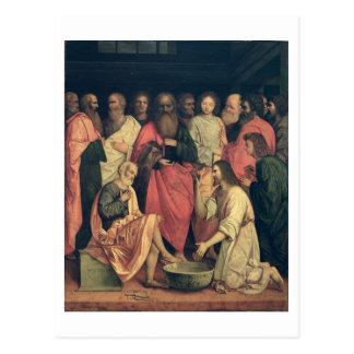 Cristo que lava los pies de los discípulos postales