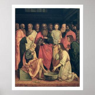 Cristo que lava los pies de los discípulos poster