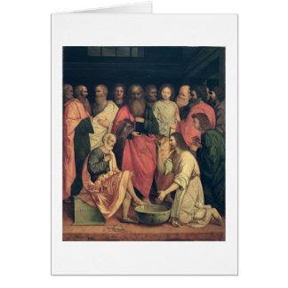 Cristo que lava los pies de los discípulos tarjeta de felicitación