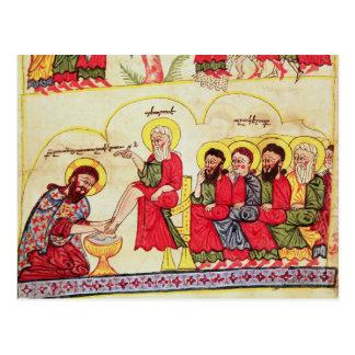 Cristo que lava los pies de los discípulos tarjeta postal
