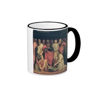 Cristo que lava los pies de los discípulos taza de café
