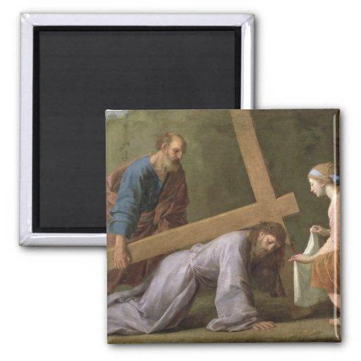 Cristo que lleva la cruz, c.1651 imán cuadrado