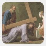 Cristo que lleva la cruz, c.1651 pegatina cuadrada