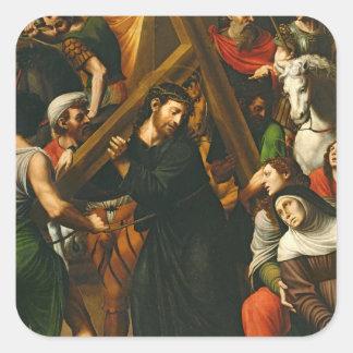 Cristo que lleva la cruz pegatina cuadrada