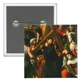 Cristo que lleva la cruz pin cuadrada 5 cm
