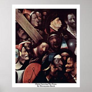 Cristo que lleva la cruz.  Por Hieronymus Bosch Impresiones