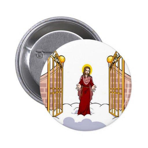Cristo que se coloca en la puerta del cielo pin redondo 5 cm