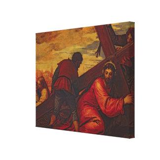 Cristo que se hunde bajo el peso de la cruz lona envuelta para galerias