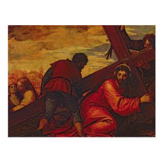 Cristo que se hunde bajo el peso de la cruz tarjetas postales