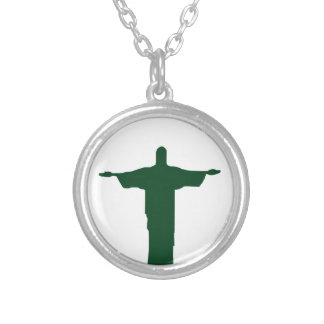 Cristo Redentor_green Silver Plated Necklace