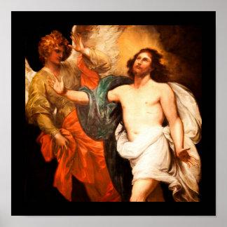 Cristo resucitado que mira hacia arriba póster