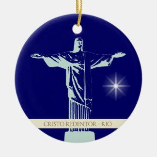 Cristo Río de Janeiro Adorno Redondo De Cerámica