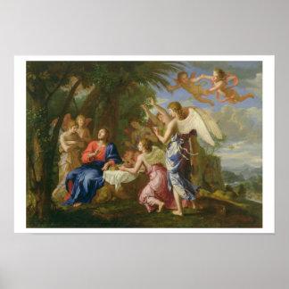 Cristo sirvió por los ángeles, c.1650 (aceite en l póster