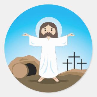 Cristo subido etiquetas redondas