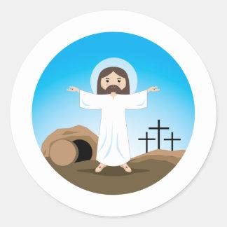 Cristo subido pegatina redonda