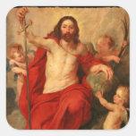 Cristo Triumph sobre pecado y muerte Pegatina Cuadrada
