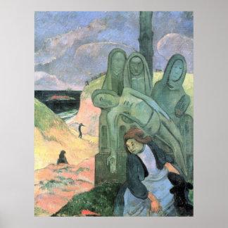 Cristo verde de Eugène Enrique Paul Gauguin Póster