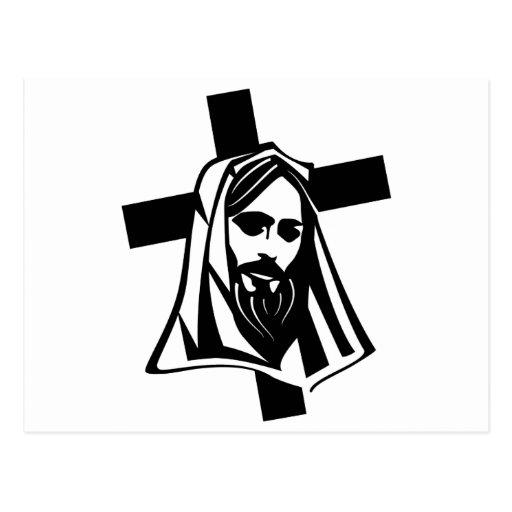Cristo y cruz postal