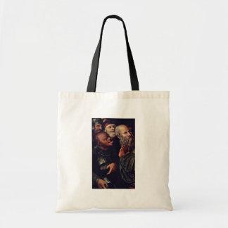 Cristo y el detalle de la adúltera por Cranach D J Bolsas