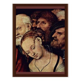 Cristo y el detalle de la adúltera por Cranach D.J Postal
